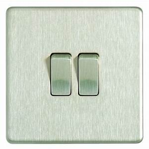 Wickes 10a Light Switch 2 Gang 2 Way Brushed Steel