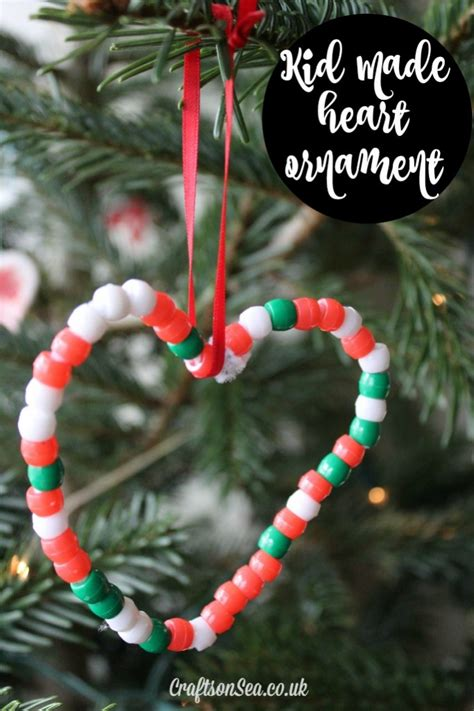 easy heart christmas ornaments for kids crafts on sea