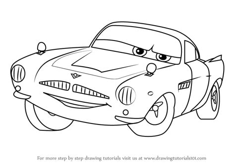cars characters drawings learn how to draw finn mcmissile from cars 2 cars 2 step