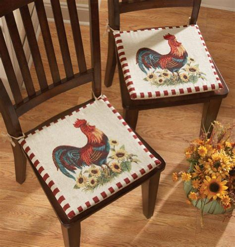 new 2 pc rooster country decor chair seat cushions pad set