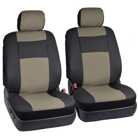 Taupe Beige On Black Pu Leather Car Seat Covers For Auto