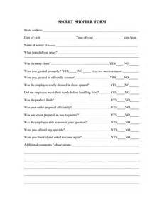 Mystery Shopper Form Template