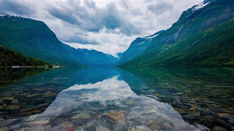 Beautiful Nature Norway natural landscape. lovatnet lake ...
