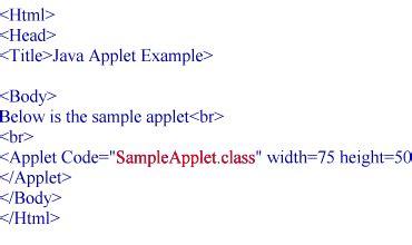 java applet classes exles code parameters html
