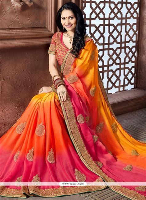 buy heavenly crepe silk hot pink orange  yellow indo