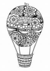 Balloon Coloring Air Balloons Adult Colouring Digi Stamps Drawing Mandala Watercolor Draw sketch template