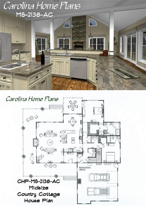 midsize country cottage house plan  open floor plan