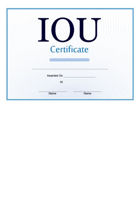 iou certificate template  lessons   teach