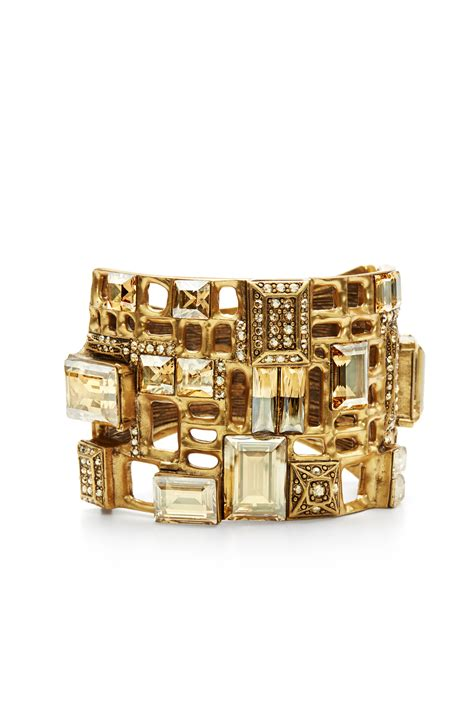 Gold Shadow Cuff By Oscar De La Renta For $198  Rent The