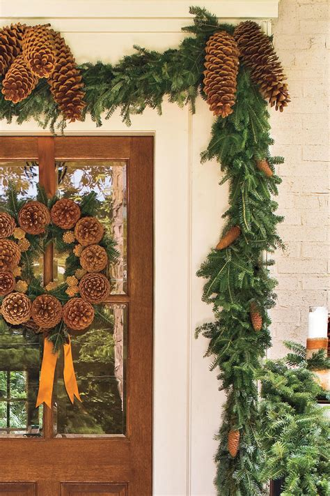 garland around front door spectacular entry and door decorations 3736