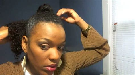 Natural Hairstyles: Ponytail BUN With Back Bang   YouTube