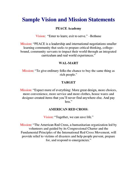 vision statement template sle vision statements best template collection