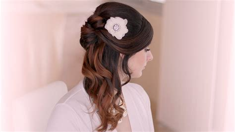 Wedding Hairstyle Tutorial. Prom Half Up Half Down With Curls For Long Hair Latest Style Haircuts Ponytails For Black Hair 2016 How To Bridal Hairstyles Long Can Grey Be Dyed Brown Highlights Light Fair Skin Curl Your Overnight With Braids Ideas Medium Thick Guys