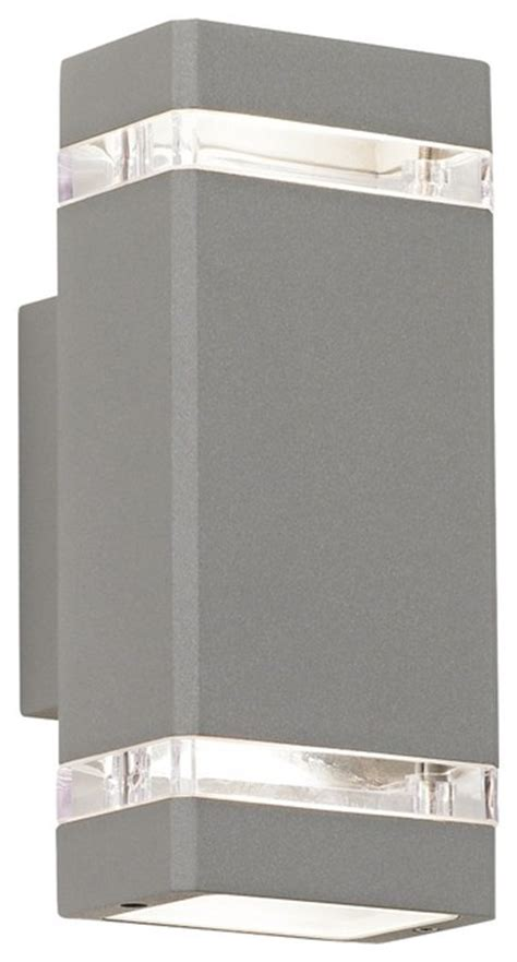 possini euro rectangular silver up down outdoor wall light contemporary outdoor wall lights