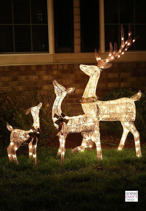 outdoor reindeer decorations light up reindeer outdoor decorations
