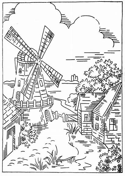 Coloring Windmill Embroidery Stitch Adults Dutch Patterns