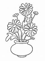 Daisy Coloring Pages Flowers Vase Flower Printable Recommended Colors Mycoloring sketch template