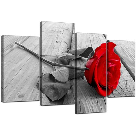 floral canvas wall art  red black  white  living