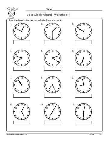 telling time to the nearest minute printable