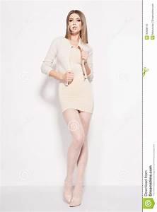 Beautiful Woman With Long Sexy Legs Dressed Elegant Posing ...