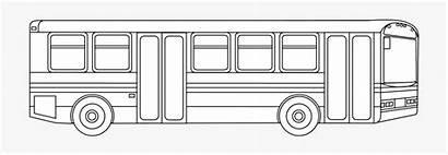 Bus Coloring Outline Printable Transportation Cartoon Transparent
