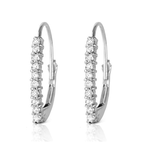 0 3 ctw 14k solid white gold leverback earrings natural