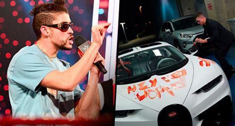 Vandalizan bugatti de bad bunny y luego lo golpean en wwe. Luchadores de WWE vandalizan con pintura roja el Bugatti de Bad Bunny