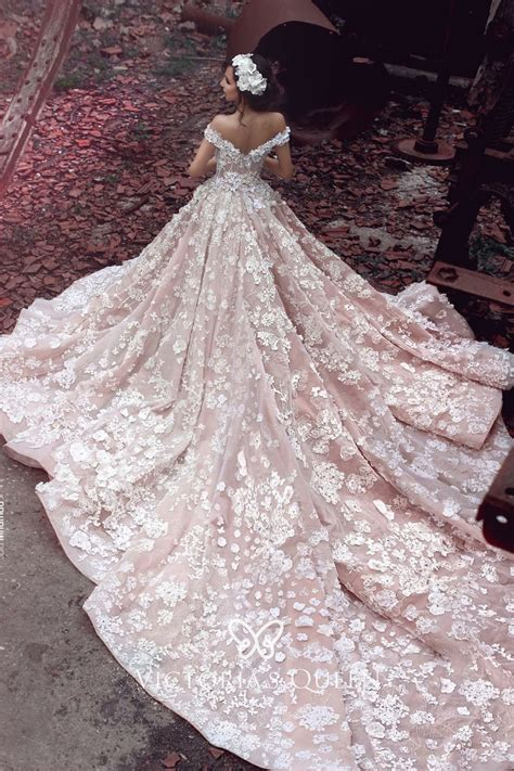 floral lace nude pink wedding gown  cathedral train vq