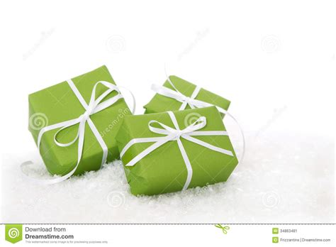 green gift box tied with white ribbon present isolated