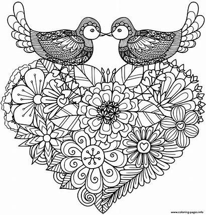Coloring Pages Birds Kissing Above Floral Printable