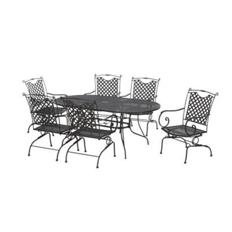 black wrought iron 7 lattice back patio dining set
