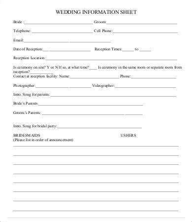 information sheet template   sample