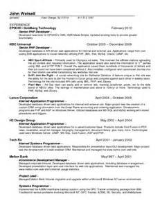 resume for php developer fresher sle resume mainframe programmer bestsellerbookdb
