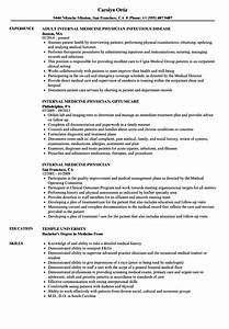 Sample Cv For Internal Medicine Residency