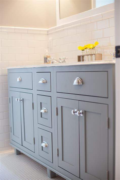 shale colored shaker cabinetry  chrome hardware
