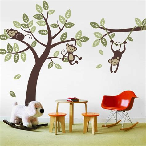 3 monkey tree and branch vine kid wall decals baby nursery