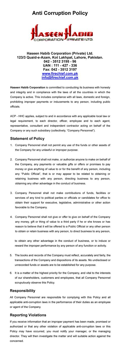 Anti Bribery And Corruption Policy Template by Anti Corruption Policy Template