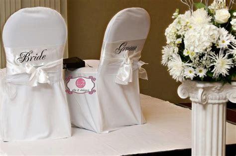 white satin wedding chair sashes groom mr mrs