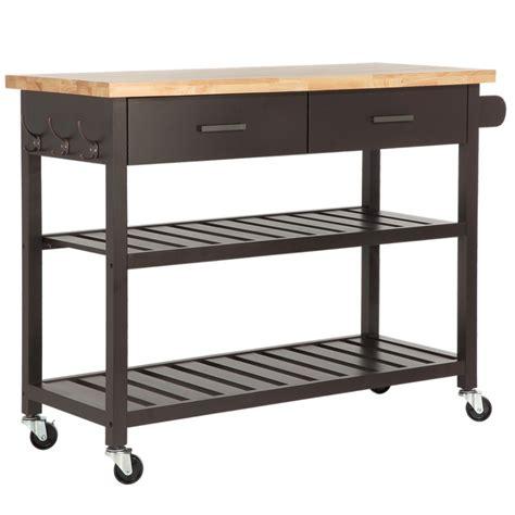 Homegear Deluxe Kitchen Storage Cart Island W Rubberwood