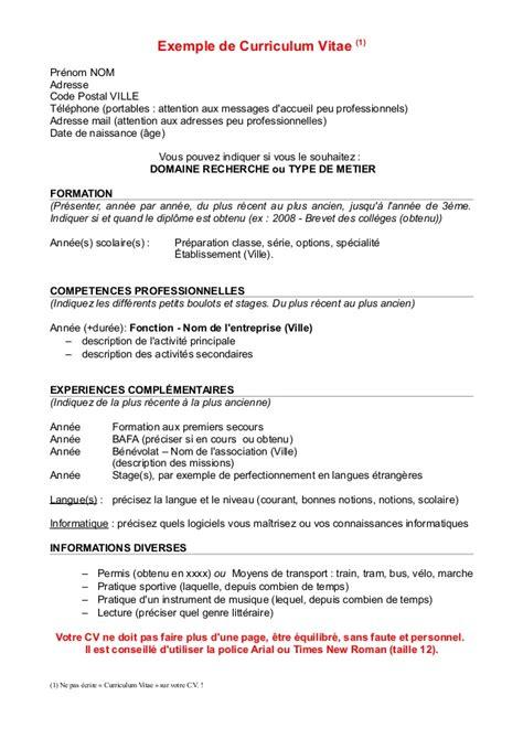 Exemples De Curriculum Vitae by Resume Format Modele De Cv Canadien Francais