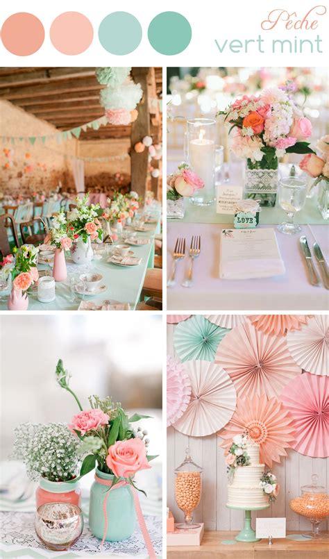 decoration de mariage couleurs peche  vert mint