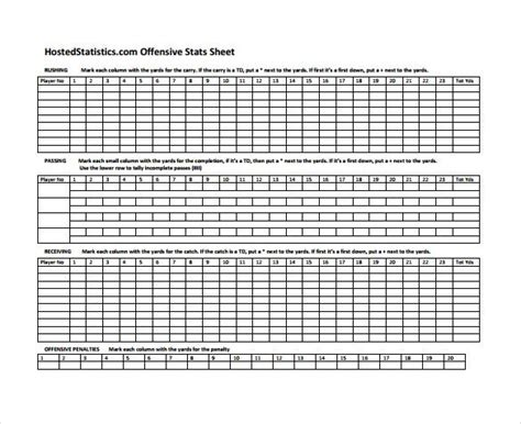 game day stat sheet  template   sample