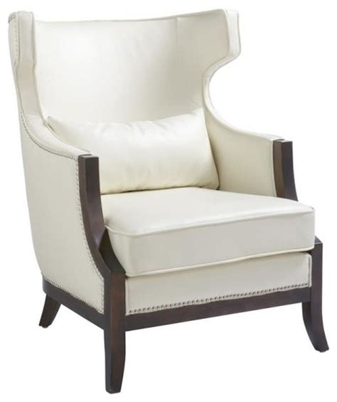 shop houzz artefac wing back leather armchair