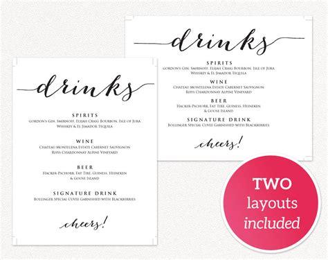 Wedding Drink Menu Template Free by Drinks Menu Template 183 Wedding Templates And Printables