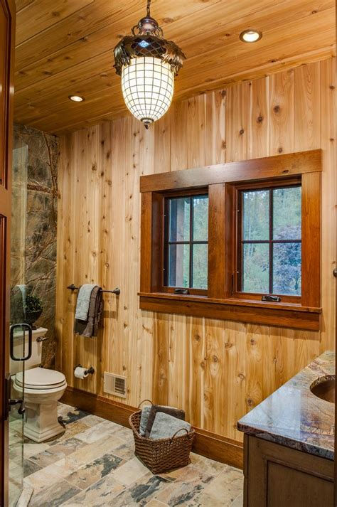 Mobile Home Interior Wall Paneling - wood window trim bathroom rustic with pendant light wood ceiling knotty wood paneling