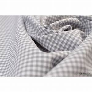 Tissu 100 Coton : tissu vichy en coton petits carreaux gris ~ Teatrodelosmanantiales.com Idées de Décoration