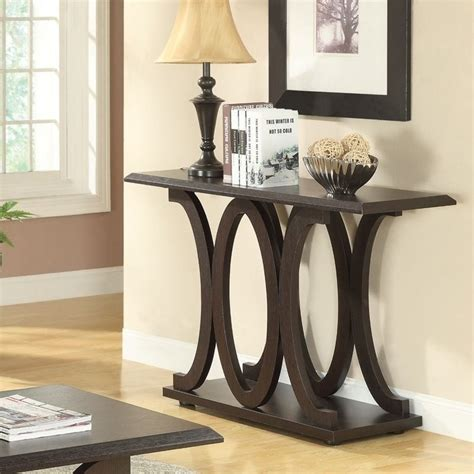 c shaped console table coaster c shaped sofa table in cappuccino 703149
