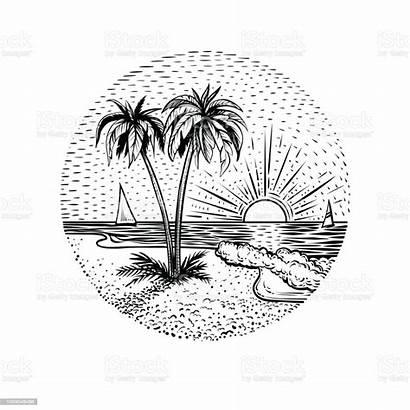 Sunset Tattoo Landscape Line Sketch Round Card
