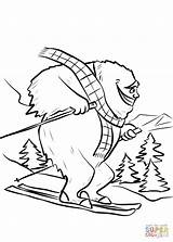 Coloring Yeti Bigfoot Ski Slope Pages Printable Colouring sketch template