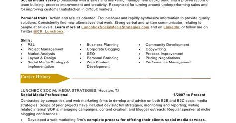 Social Media Marketing Resume Exles by Social Media Marketing Resume Sle Sle Resumes